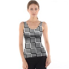 Black And White Basket Weave Tank Top
