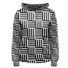 Black And White Basket Weave Women s Pullover Hoodie