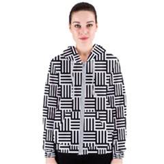 Black And White Basket Weave Women s Zipper Hoodie