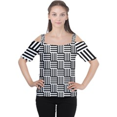 Black And White Basket Weave Cutout Shoulder Tee