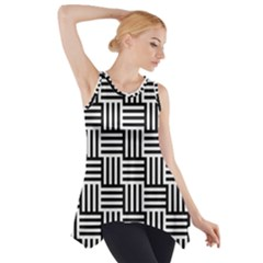 Black And White Basket Weave Side Drop Tank Tunic