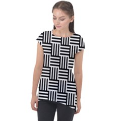 Black And White Basket Weave Cap Sleeve High Low Top