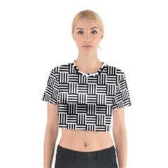 Black And White Basket Weave Cotton Crop Top