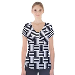 Black And White Basket Weave Short Sleeve Front Detail Top