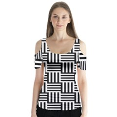 Black And White Basket Weave Butterfly Sleeve Cutout Tee