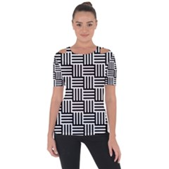 Black And White Basket Weave Shoulder Cut Out Short Sleeve Top