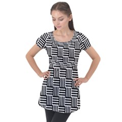 Black And White Basket Weave Puff Sleeve Tunic Top