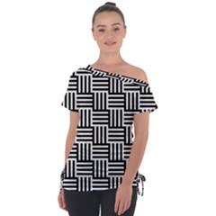 Black And White Basket Weave Tie-Up Tee