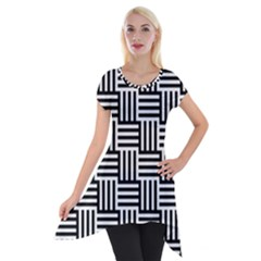 Black And White Basket Weave Short Sleeve Side Drop Tunic