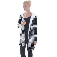 Black And White Basket Weave Longline Hooded Cardigan