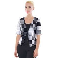 Black And White Basket Weave Cropped Button Cardigan
