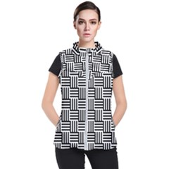 Black And White Basket Weave Women s Puffer Vest