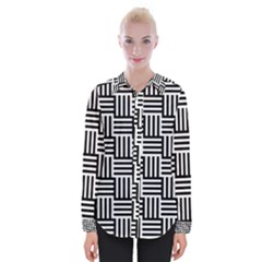 Black And White Basket Weave Womens Long Sleeve Shirt