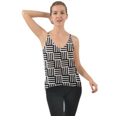 Black And White Basket Weave Chiffon Cami