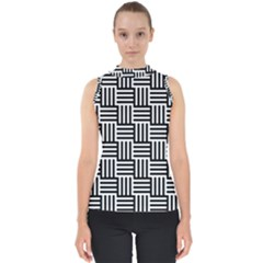 Black And White Basket Weave Mock Neck Shell Top