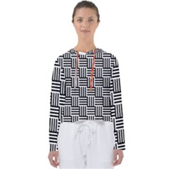 Black And White Basket Weave Women s Slouchy Sweat