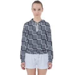 Black And White Basket Weave Women s Tie Up Sweat