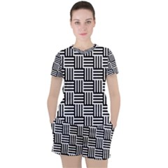 Black And White Basket Weave Women s Tee and Shorts Set