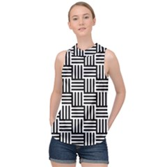 Black And White Basket Weave High Neck Satin Top