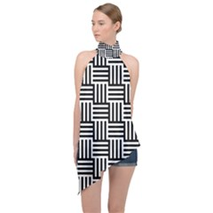 Black And White Basket Weave Halter Asymmetric Satin Top