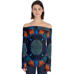 Ornament Fractal Pattern Background Off Shoulder Long Sleeve Top