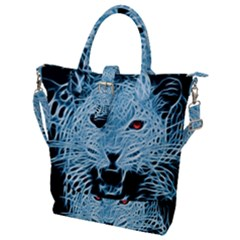 Animals Leopard Fractal Photoshop Buckle Top Tote Bag