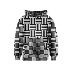 Black And White Basket Weave Kids  Pullover Hoodie