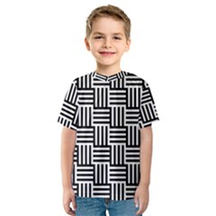 Black And White Basket Weave Kids  Sport Mesh Tee