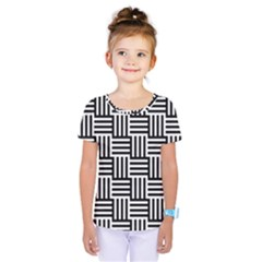 Black And White Basket Weave Kids  One Piece Tee