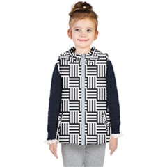 Black And White Basket Weave Kids  Hooded Puffer Vest