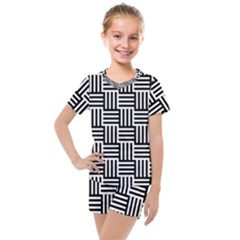 Black And White Basket Weave Kids  Mesh Tee and Shorts Set