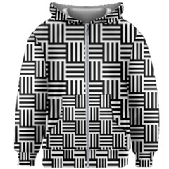 Black And White Basket Weave Kids  Zipper Hoodie Without Drawstring