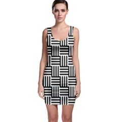 Black And White Basket Weave Bodycon Dress