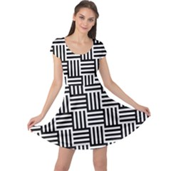 Black And White Basket Weave Cap Sleeve Dress
