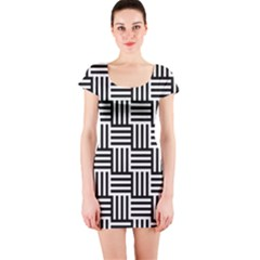 Black And White Basket Weave Short Sleeve Bodycon Dress