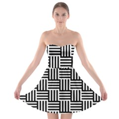 Black And White Basket Weave Strapless Bra Top Dress