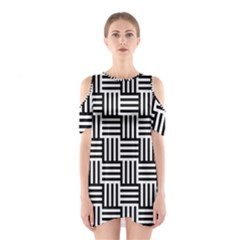 Black And White Basket Weave Shoulder Cutout One Piece Dress