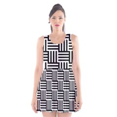 Black And White Basket Weave Scoop Neck Skater Dress by retrotoomoderndesigns