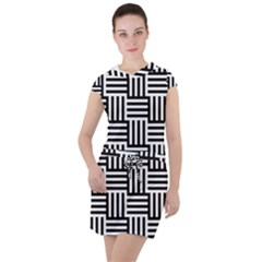 Black And White Basket Weave Drawstring Hooded Dress