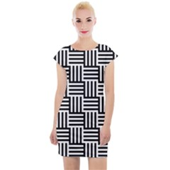 Black And White Basket Weave Cap Sleeve Bodycon Dress