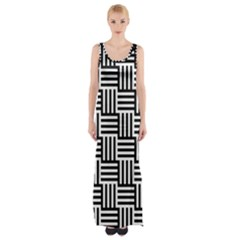 Black And White Basket Weave Maxi Thigh Split Dress