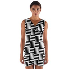 Black And White Basket Weave Wrap Front Bodycon Dress