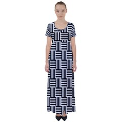 Black And White Basket Weave High Waist Short Sleeve Maxi Dress