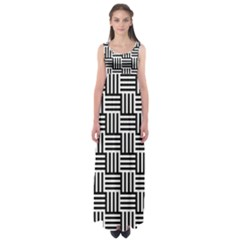Black And White Basket Weave Empire Waist Maxi Dress