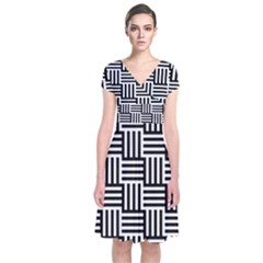 Black And White Basket Weave Short Sleeve Front Wrap Dress