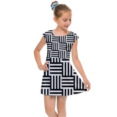 Black And White Basket Weave Kids  Cap Sleeve Dress