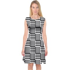 Black And White Basket Weave Capsleeve Midi Dress