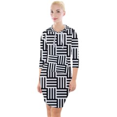 Black And White Basket Weave Quarter Sleeve Hood Bodycon Dress