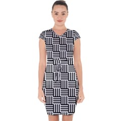 Black And White Basket Weave Capsleeve Drawstring Dress