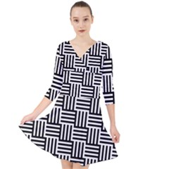 Black And White Basket Weave Quarter Sleeve Front Wrap Dress